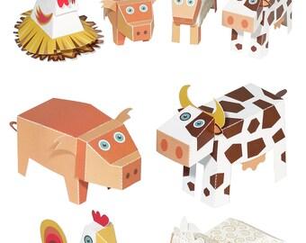 Farm Animals Paper Toys - DIY Paper Craft Kit - 3D Paper Animals - 4 Farm Animals - Papercraft Kids