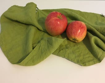 Linen Kitchen Towel - set of 2. Linen dish towel. Linen tea towel. Linen hand towel - Avocado green