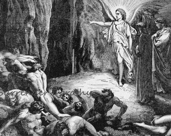 Angel Opens Hell's Gate Dante Inferno, Canto 9 Vintage Engraving by Gustave Dore Black & White
