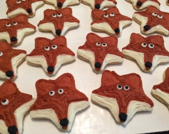Fox Woodland Animal Iced Sugar Cookies