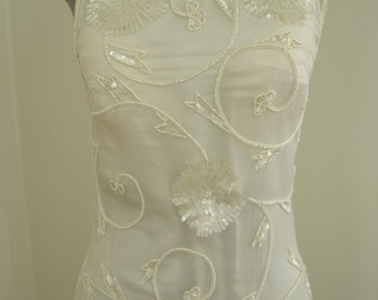 Pearl and Sequin Beaded off white Silk Evening/Wedding Event Gown