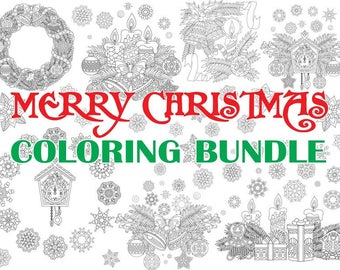 Merry Christmas Bundle. 8 Coloring Pages for New year greeting cards. Coloring book pages for Kids and Adults. Instant Download Print