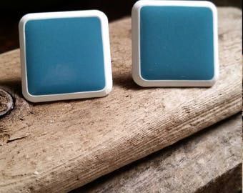 Sleek Teal Blue Enamel Earrings, Vintage Pierced Earrings