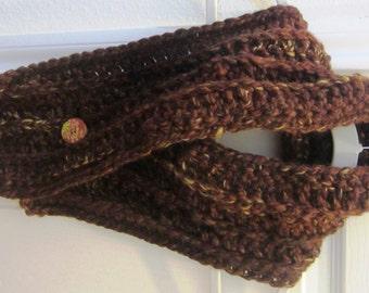 Crochet Pattern Chunky Ribbed Neckwarmer Scarf Winter Fall Spring