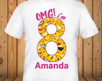 Emoji Birthday Shirt - Add Any Name and Age - kids Birthday Shirts