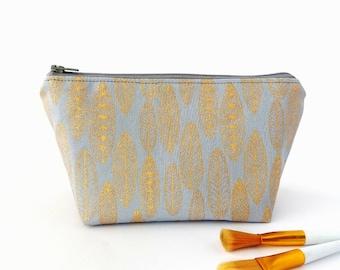 Gold feather makeup bag, Leaf make up bag, Zipper pouch, Zip up project bag, Makeup storage bag, Small cosmetic bag, Gold on grey bag Golden