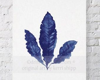 Sea Fan in Denim II Print 8 x 10 - Sea Life Art Print - Coral Art Print - Blue Coral Print - Seaweed Watercolor - Marine Life Print