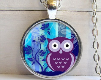 Owl Necklace, Art Pendant, Whimsical Jewelry, Owl Lovers Gift, Owl Pendant