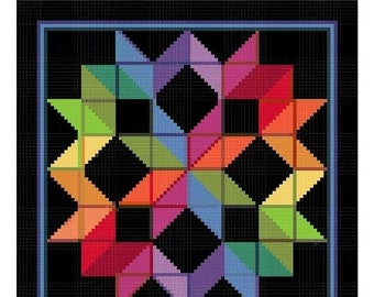 SPRING SALE Carpenters Wheel inspired by an Amish Quilt Counted Cross Stitch Chart Pattern