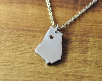 Custom Georgia necklace, custom map necklace, silver personalized state necklace, Alloy pendant jewelry, Idaho,Maine,Massachusetts, Nevada