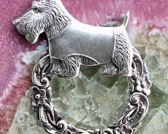 Scotty, Scottish Terrier, Scottie Dog Eyeglass ID Name Badge Holder Pin Brooch
