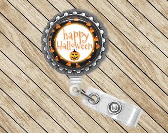 Halloween, Jacko-lantern, Pumpkin, ID Badge Reel, Retractable, Badge Holder, Badge Reel, Badge Clip, Nurse Gift, Cute Badge Reel