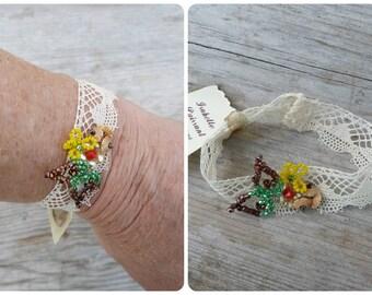 Dentelle ivory  yellow/greenbracelet seed beads beaded beadwork & cotton lace French Handmade