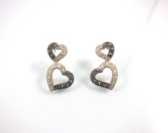 Marcasite, 925 Sterling Silver And Swarovski Crystal Double Heart Post Earrings