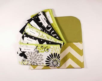 Cash Budget System, Cash Envelope Wallet -Old Green Chevron- (It can be used with the Dave Ramsey system)