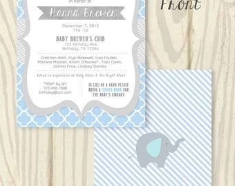 Blue and Grey Baby Shower Invitation - 5x7