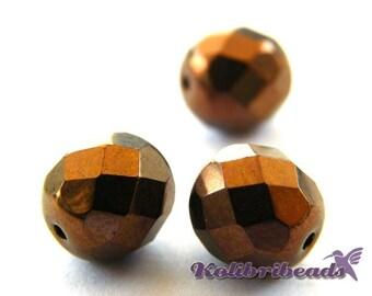 15x Fire polished Czech Glass Beads 8 mm - Bronze