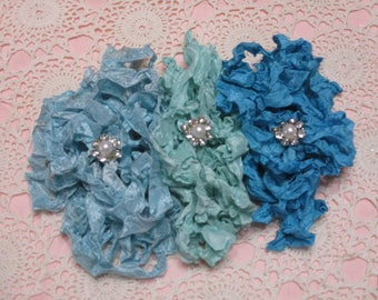 15 yards of Pretty Ribbons-MERMAID-Seam Binding-Crinkled-ATC-Supplies