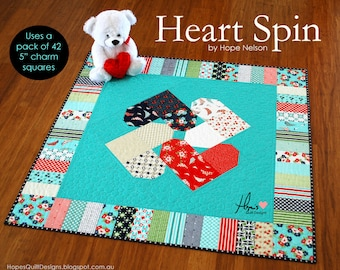 Heart Spin PDF Quilt Pattern - Charm Square Friendly