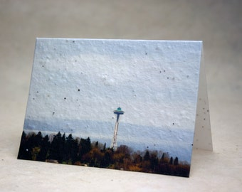 Seed Paper Seattle Space Needle Print Recycled Cotton Blank Notecard Set - Northwest Photography
