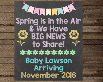 Pregnancy Announcement, Spring Pregnancy Announcement sign, pregnancy announcement poster, digital file, pregnancy reveal, flowers, new baby