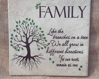 Gift for Mom, Family branches Sign, Family Sign, Family Tile, Family Gift, Custom tile or wooden sign