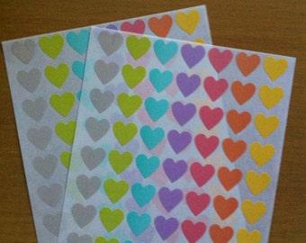 Heart Stickers - Heart pastel stickers - color stickers - 126 pcs  - envelope. seals