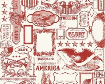 Riley Blake - Americana Main in Red - your choice of cut