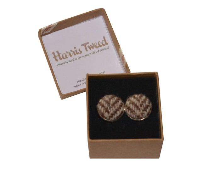Harris Tweed Brown & Beige Herringbone Handmade Boxed Cufflinks