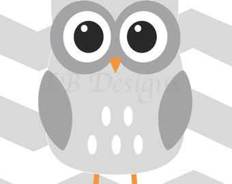 Gender Neutral Nursery Decor, Woodland Nursery Print, Playroom Decor, Owl Nursery Print, Gray and White Nursery, Woodland Kids Decor - 8x10
