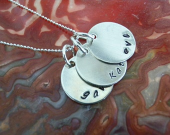 Hand Stamped Jewelry, mom necklace, family names, hand stamped necklace, Mothers Day, Charm necklace, hand stamped jewelry
