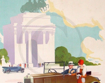 Standard Nine, London, Hyde Park, Wellington Arch, The all British Standard Car, 1930s A3 Advertising Print
