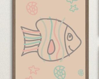 Fish Nursery Prints, Fish Nursery Art,Printable Nursery Wall Art, Printable Nursery Art, Fish Nursery Decor, Fish Nursery Printable