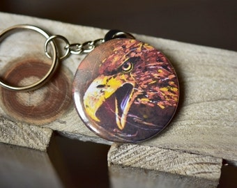Eagle key chain / / animal / / painting / / table / / gift / / gift for her / / women / / for him / / bag / / bird / / head / / bird