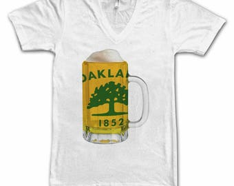 Ladies Oakland City Flag Beer Mug Tee, Women's Tee Beer Tee, City Pride, Beer T-Shirt, Beer Lovers Tee, Teer Thinkers, Beer, California