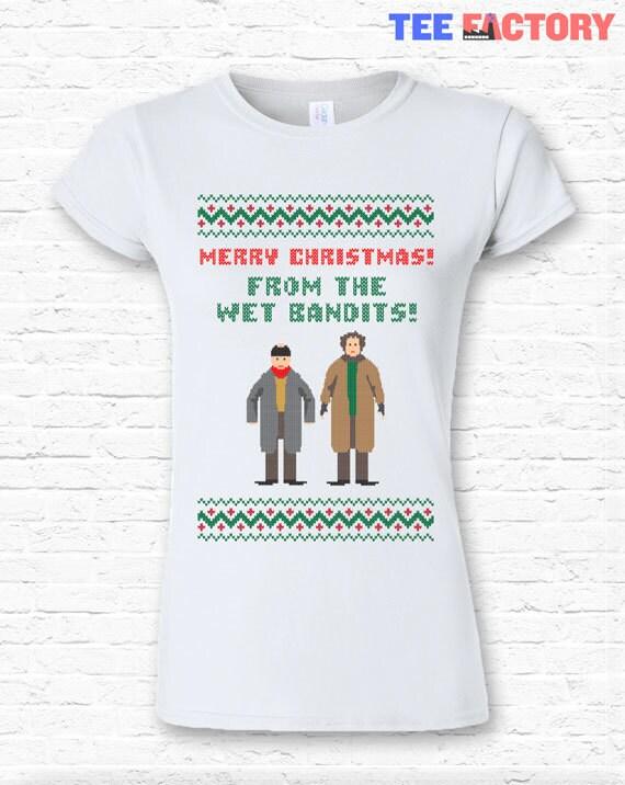 Funny Wet Bandits Merry Christmas Quote T Shirt Tshirt Tee