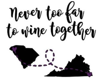 Best Friend Wine Glass Decal | Wine Together | Set of Two