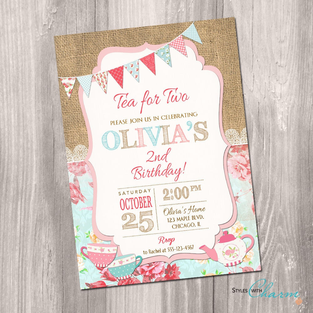 Tea for two invitation tea party invitation 2nd birthday