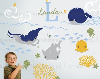 Ocean Animals Wall Decal | Under the Sea Sticker Set for Kids | Animal Stickers for Baby Nursery | Sea Animals Wall Art | 035