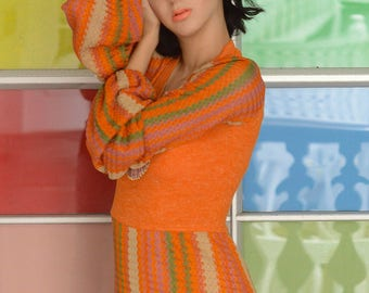 vintage 1970s orange knit sweater dress