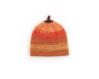 Pumpkin hat, Knit pumpkin hat, Baby pumpkin hat, Knit baby pumpkin hat, Fall hat, Autumn hat, Halloween hat, Thanksgiving hat, photo prop