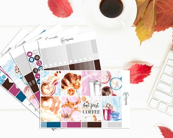But First, Coffee || FULL Weekly Kit || Stickers for use with the Erin Condren Life Planner