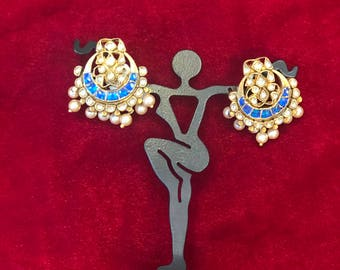 Kundan earrings with blue stone and pearls