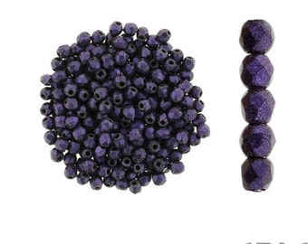METALLIC SUEDE PURPLE: 2mm Faceted Round Firepolish Czech Glass Beads (50 beads per strand)