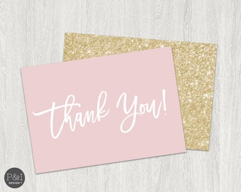 Blush and Gold Glitter Thank You Cards   Instant Download   3.5x5 (5x7 folded)