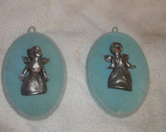 Two Vintage Pewer Angels Wall Plaques