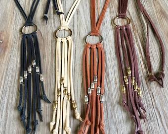 Leather Tassel Necklace, Boho Leather Choker, Long Leather Fringe Necklace