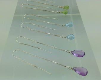 Sterling Silver Threader Earrings with Briolette Gemstone