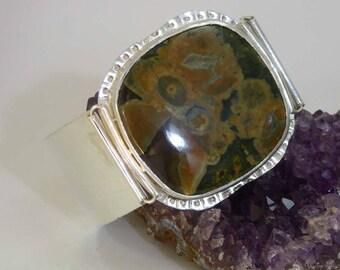 Rhyolite sterling silver cuff bracelet statement piece OOAK