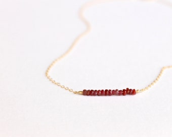 Genuine Ruby Necklace - 14k Gold Fill or Sterling Silver - Bead Bar Necklace - Delicate Necklace - Ruby Red July Birthstone Layering Simple
